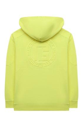 Детский хлопковая толстовка BALMAIN желтого цвета, арт. 6P4580   Фото 2 (Материал внешний: Хлопок; Рукава: Длинные; Мальчики Кросс-КТ: Толстовка-одежда)