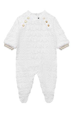 Детский комплект из комбинезона с шапкой BALMAIN белого цвета, арт. 6P8B40   Фото 2 (Материал подклада: Хлопок; Рукава: Длинные; Материал внешний: Хлопок)