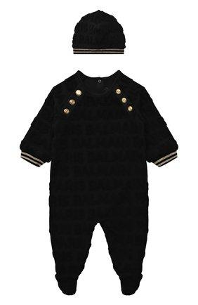 Детский комплект из комбинезона с шапкой BALMAIN черного цвета, арт. 6P8B40   Фото 1 (Материал внешний: Хлопок; Рукава: Длинные; Материал подклада: Хлопок)