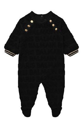 Детский комплект из комбинезона с шапкой BALMAIN черного цвета, арт. 6P8B40   Фото 2 (Материал внешний: Хлопок; Рукава: Длинные; Материал подклада: Хлопок)