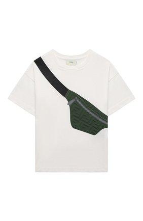 Детская хлопковая футболка FENDI белого цвета, арт. JMI374/7AJ/8A-12+ | Фото 1 (Материал внешний: Хлопок; Рукава: Короткие)