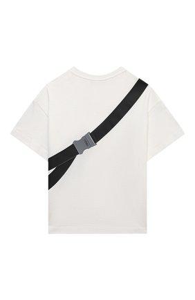 Детская хлопковая футболка FENDI белого цвета, арт. JMI374/7AJ/8A-12+ | Фото 2 (Материал внешний: Хлопок; Рукава: Короткие)