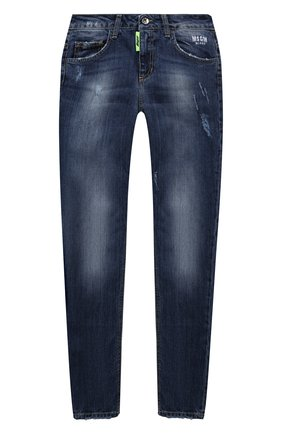 Детские джинсы MSGM KIDS синего цвета, арт. MS027937   Фото 1 (Материал внешний: Хлопок)