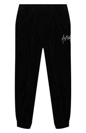 Детские хлопковые джоггеры MSGM KIDS черного цвета, арт. MS027854 | Фото 1 (Материал внешний: Хлопок; Девочки Кросс-КТ: Брюки-спорт)