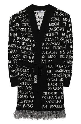 Детский кардиган с поясом MSGM KIDS черного цвета, арт. MS027796 | Фото 1 (Материал внешний: Синтетический материал, Вискоза, Шерсть; Рукава: Длинные; Девочки Кросс-КТ: Кардиган-одежда)