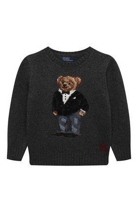 Детский шерстяной пуловер POLO RALPH LAUREN серого цвета, арт. 322857438 | Фото 1 (Материал внешний: Шерсть; Рукава: Длинные; Мальчики Кросс-КТ: Пуловер-одежда)