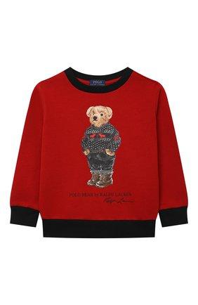 Детский хлопковый свитшот POLO RALPH LAUREN красного цвета, арт. 322853820 | Фото 1 (Материал внешний: Хлопок; Рукава: Длинные; Мальчики Кросс-КТ: Толстовка-одежда)