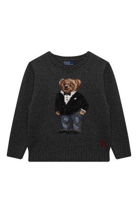 Детский шерстяной пуловер POLO RALPH LAUREN серого цвета, арт. 321857438 | Фото 1 (Рукава: Длинные; Материал внешний: Шерсть; Мальчики Кросс-КТ: Пуловер-одежда)