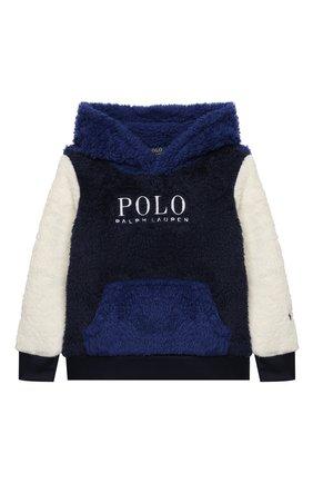 Детский худи POLO RALPH LAUREN синего цвета, арт. 321853909 | Фото 1 (Материал внешний: Синтетический материал; Рукава: Длинные; Мальчики Кросс-КТ: Толстовка-одежда)