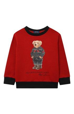 Детский хлопковый свитшот POLO RALPH LAUREN красного цвета, арт. 321853820 | Фото 1 (Рукава: Длинные; Материал внешний: Хлопок; Мальчики Кросс-КТ: Толстовка-одежда)