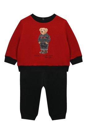 Детский комплект из свитшота и брюк POLO RALPH LAUREN красного цвета, арт. 320855675 | Фото 1 (Материал внешний: Хлопок; Рукава: Длинные)