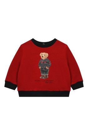 Детский комплект из свитшота и брюк POLO RALPH LAUREN красного цвета, арт. 320855675 | Фото 2 (Материал внешний: Хлопок; Рукава: Длинные)