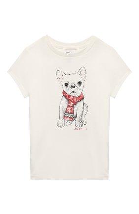 Детская хлопковая футболка POLO RALPH LAUREN кремвого цвета, арт. 311853363 | Фото 1 (Материал внешний: Хлопок; Рукава: Короткие)