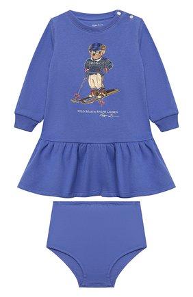 Женский комплект из платья и шорт POLO RALPH LAUREN голубого цвета, арт. 310853605   Фото 1 (Материал внешний: Хлопок, Синтетический материал; Рукава: Длинные)
