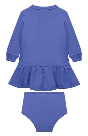 Женский комплект из платья и шорт POLO RALPH LAUREN голубого цвета, арт. 310853605   Фото 2 (Материал внешний: Хлопок, Синтетический материал; Рукава: Длинные)