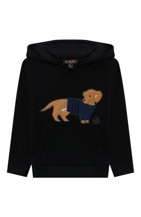 Детский хлопковое худи LORO PIANA темно-синего цвета, арт. FAL7618 | Фото 1 (Материал внешний: Хлопок; Рукава: Длинные; Мальчики Кросс-КТ: Толстовка-одежда)