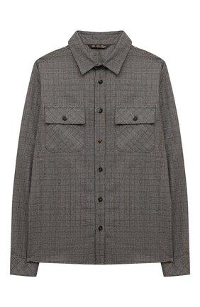 Детская шерстяная рубашка LORO PIANA серого цвета, арт. FAL7481 | Фото 1 (Рукава: Длинные; Материал внешний: Шерсть; Случай: Повседневный)
