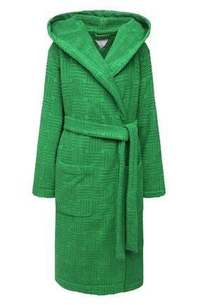 Женский хлопковый халат BOTTEGA VENETA зеленого цвета, арт. 656096/3V106   Фото 1 (Материал внешний: Хлопок; Рукава: Длинные; Длина Ж (юбки, платья, шорты): До колена)