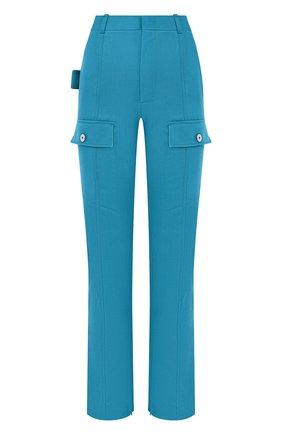 Женские шерстяные брюки BOTTEGA VENETA бирюзового цвета, арт. 672362/V0B20 | Фото 1 (Длина (брюки, джинсы): Стандартные; Материал внешний: Шерсть; Стили: Гламурный; Женское Кросс-КТ: Брюки-одежда; Силуэт Ж (брюки и джинсы): Прямые)