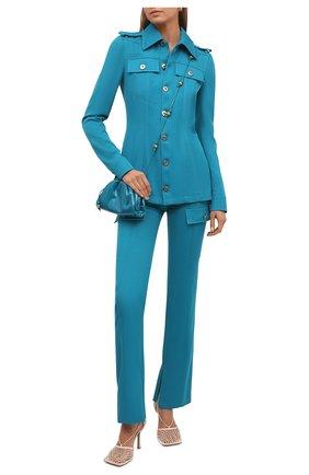 Женские шерстяные брюки BOTTEGA VENETA бирюзового цвета, арт. 672362/V0B20 | Фото 2 (Длина (брюки, джинсы): Стандартные; Материал внешний: Шерсть; Стили: Гламурный; Женское Кросс-КТ: Брюки-одежда; Силуэт Ж (брюки и джинсы): Прямые)