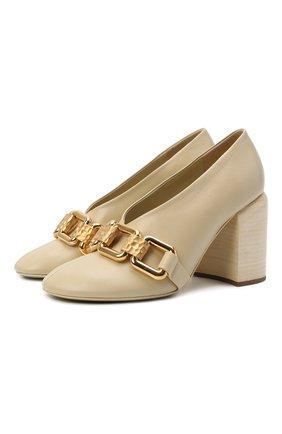 Женские кожаные туфли JIL SANDER кремвого цвета, арт. JS37231C-14010 | Фото 1 (Подошва: Плоская; Каблук высота: Высокий; Материал внутренний: Натуральная кожа; Каблук тип: Устойчивый)