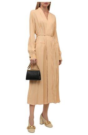 Женские кожаные туфли JIL SANDER кремвого цвета, арт. JS37231C-14010 | Фото 2 (Подошва: Плоская; Каблук высота: Высокий; Материал внутренний: Натуральная кожа; Каблук тип: Устойчивый)