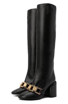 Женские кожаные сапоги JIL SANDER черного цвета, арт. JS37233C-14012 | Фото 1 (Каблук высота: Высокий; Подошва: Плоская; Высота голенища: Средние; Материал внутренний: Натуральная кожа; Каблук тип: Устойчивый)