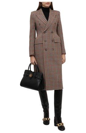 Женские кожаные сапоги JIL SANDER черного цвета, арт. JS37233C-14012 | Фото 2 (Каблук высота: Высокий; Подошва: Плоская; Высота голенища: Средние; Материал внутренний: Натуральная кожа; Каблук тип: Устойчивый)