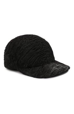 Мужской бейсболка из меха каракульчи KUSSENKOVV темно-серого цвета, арт. 387100020003 | Фото 1 (Материал: Натуральный мех)