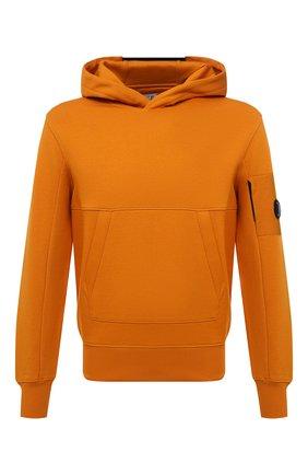 Мужской хлопковое худи C.P. COMPANY оранжевого цвета, арт. 11CMSS056A-005086W | Фото 1 (Материал внешний: Хлопок; Мужское Кросс-КТ: Худи-одежда; Принт: Без принта; Стили: Спорт-шик; Длина (для топов): Стандартные; Рукава: Длинные)