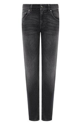 Мужские джинсы 7 FOR ALL MANKIND серого цвета, арт. JSMSA540CG   Фото 1 (Длина (брюки, джинсы): Стандартные; Материал внешний: Хлопок; Кросс-КТ: Деним; Силуэт М (брюки): Прямые; Детали: Потертости; Стили: Кэжуэл)