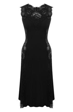 Женское платье DOLCE & GABBANA черного цвета, арт. F6R2FT/FUADB | Фото 1 (Материал внешний: Шелк; Стили: Гламурный; Случай: Вечерний; Женское Кросс-КТ: Платье-одежда; Длина Ж (юбки, платья, шорты): До колена)