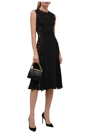 Женское платье DOLCE & GABBANA черного цвета, арт. F6R2FT/FUADB | Фото 2 (Материал внешний: Шелк; Стили: Гламурный; Случай: Вечерний; Женское Кросс-КТ: Платье-одежда; Длина Ж (юбки, платья, шорты): До колена)