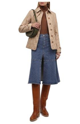 Женские кожаные сапоги tonya 70 JIMMY CHOO коричневого цвета, арт. T0NYA 70/ZVL   Фото 2 (Материал внутренний: Натуральная кожа; Высота голенища: Высокие; Каблук тип: Устойчивый; Каблук высота: Средний; Подошва: Платформа)