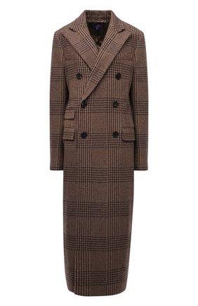 Женское шерстяное пальто RALPH LAUREN коричневого цвета, арт. 290858644 | Фото 1 (Длина (верхняя одежда): Длинные; Материал подклада: Вискоза; Материал внешний: Шерсть; Рукава: Длинные; Стили: Кэжуэл; 1-2-бортные: Двубортные)