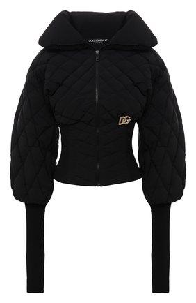 Женская пуховая куртка DOLCE & GABBANA черного цвета, арт. F9J21Z/G7YZV | Фото 1 (Рукава: Длинные; Материал внешний: Синтетический материал; Материал подклада: Синтетический материал; Длина (верхняя одежда): Короткие; Материал утеплителя: Пух и перо; Стили: Спорт-шик; Кросс-КТ: Куртка; Женское Кросс-КТ: Пуховик-куртка)