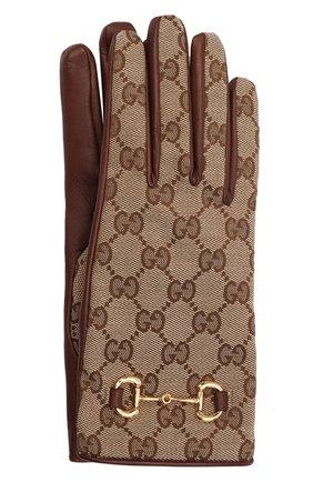 Женские перчатки GUCCI коричневого цвета, арт. 603635/3SAAH | Фото 1 (Материал: Текстиль, Синтетический материал)