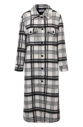 Женское пальто REDVALENTINO черно-белого цвета, арт. WR0CAE35/650   Фото 1 (Материал внешний: Шерсть; Рукава: Длинные; Длина (верхняя одежда): Длинные; Стили: Кэжуэл; 1-2-бортные: Однобортные)