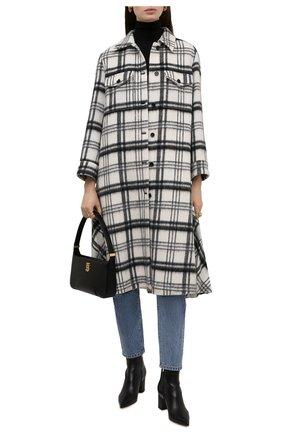 Женское пальто REDVALENTINO черно-белого цвета, арт. WR0CAE35/650   Фото 2 (Материал внешний: Шерсть; Рукава: Длинные; Длина (верхняя одежда): Длинные; Стили: Кэжуэл; 1-2-бортные: Однобортные)
