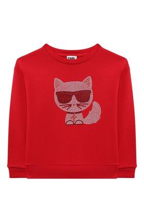 Детский хлопковый свитшот KARL LAGERFELD KIDS красного цвета, арт. Z15338   Фото 1 (Материал внешний: Хлопок; Рукава: Длинные; Девочки Кросс-КТ: Толстовка-одежда)
