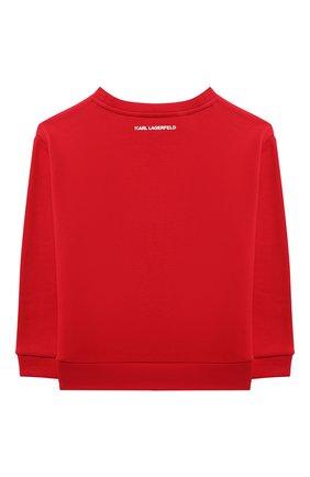 Детский хлопковый свитшот KARL LAGERFELD KIDS красного цвета, арт. Z15338   Фото 2 (Материал внешний: Хлопок; Рукава: Длинные; Девочки Кросс-КТ: Толстовка-одежда)