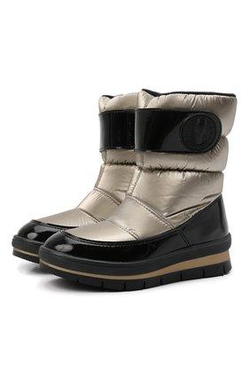 Детские утепленные ботинки JOG DOG золотого цвета, арт. 13023R/ZAFFIR0 FLASH/29-35   Фото 1 (Материал внешний: Экокожа, Текстиль; Материал утеплителя: Шерсть)
