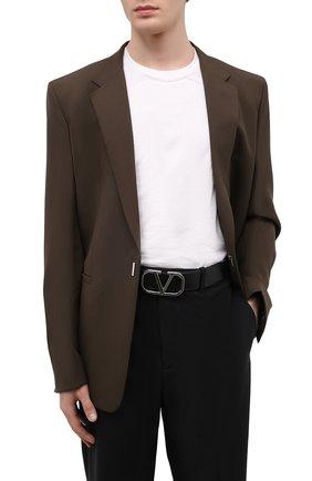 Мужской кожаный ремень VALENTINO черного цвета, арт. WY0T0Q87/AZR | Фото 2 (Случай: Повседневный)