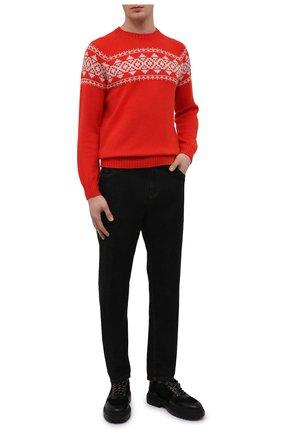 Мужской шерстяной свитер GRAN SASSO красного цвета, арт. 13125/22608   Фото 2 (Материал внешний: Шерсть; Рукава: Длинные; Длина (для топов): Стандартные; Мужское Кросс-КТ: Свитер-одежда; Принт: С принтом; Стили: Кэжуэл)
