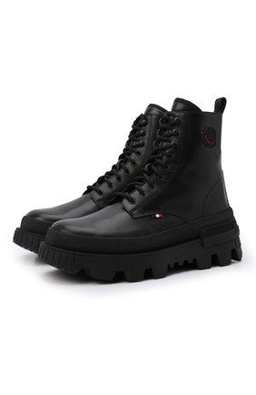 Мужские кожаные ботинки petit mercurious MONCLER черного цвета, арт. G2-09A-4F707-00-019A6 | Фото 1 (Материал внутренний: Натуральная кожа; Мужское Кросс-КТ: Ботинки-обувь; Каблук высота: Высокий; Подошва: Массивная)