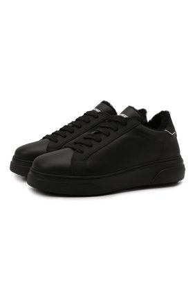 Мужские кожаные кеды DSQUARED2 черного цвета, арт. SNM0172 01504667 | Фото 1 (Материал утеплителя: Натуральный мех; Подошва: Массивная)