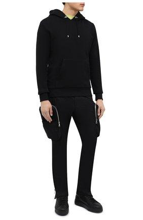 Мужские кожаные кеды DSQUARED2 черного цвета, арт. SNM0172 01504667 | Фото 2 (Материал утеплителя: Натуральный мех; Подошва: Массивная)