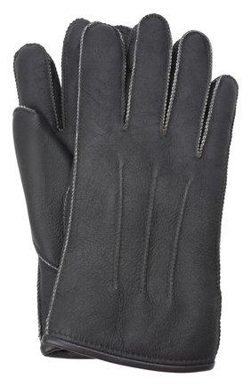 Мужские кожаные перчатки PARAJUMPERS серого цвета, арт. GL11/SHEARLING GL0VES | Фото 1 (Материал: Натуральный мех; Мужское Кросс-КТ: Кожа и замша)