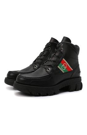 Мужские кожаные ботинки GUCCI черного цвета, арт. 663368/DTNE0 | Фото 1 (Подошва: Массивная; Каблук высота: Высокий; Материал внутренний: Натуральная кожа; Мужское Кросс-КТ: Ботинки-обувь)