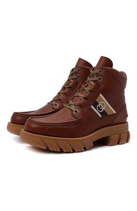 Мужские кожаные ботинки GUCCI коричневого цвета, арт. 663368/DTNE0 | Фото 1 (Материал внутренний: Натуральная кожа; Мужское Кросс-КТ: Ботинки-обувь; Каблук высота: Высокий; Подошва: Массивная)